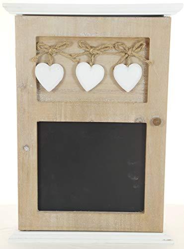 Vintage Schlüsselkasten aus Holz mit Herz und Kreidetafel | Schlüsselbrett für die Gardarobe weiß | Landhaus Stil Shabby