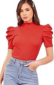 SheIn Women's Mock Neck Puff Short Sleeve Tee Summer Rib-Knit