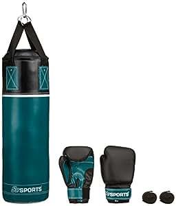ScSPORTS Boxsack-Set, Boxset, Boxhandschuhe, Boxbandagen Tasche, 5,5 kg, petrol blau schwarz