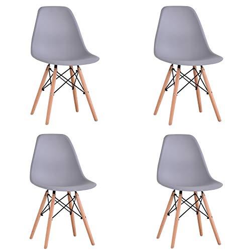 KunstDesign Set di 4 Sedie da Pranzo con Seduta in Polipropilene e Gambe in Legno Massello di Faggio Bianco Design Ergonomico