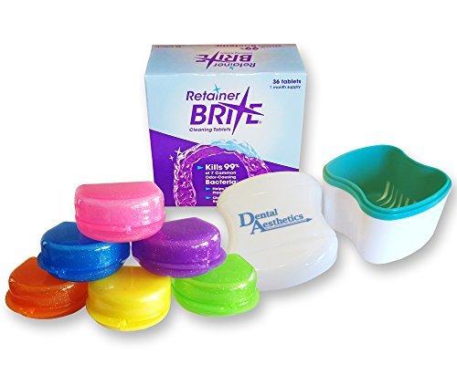 Retainer Brite, Cleaner Bath & Case ~ Cleaning Tablets, Glitter or Plain Box (Green Bath, Glitter Orange Case)