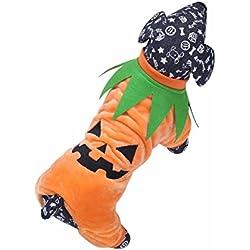 FEESHOW Ropa Traje de Fiesta Perrito Halloween Disfraz para Perro Gato Mascota doméstico ropa Otoño invierno Naranja XL