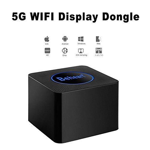 beheart Miracast Dongle,2.4G/5G Wireless 1080P Bildschirm Mirroring Adapter, mit LAN-Anschluss Plug & Play,HDMI/AV Dual Ausgänge,Unterstützt Miracast Airplay DLNA für Android IOS Windows MacOS (Q2)