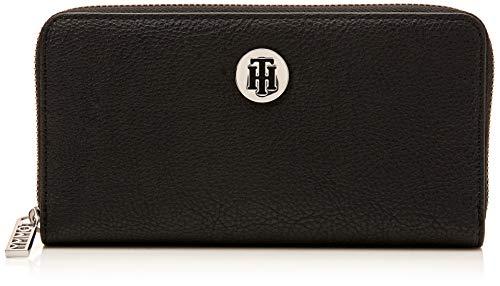 Tommy hilfiger th core lrg za wallet - portafogli donna, nero (black/silverfiligree), 2x10x19 cm (b x h t)