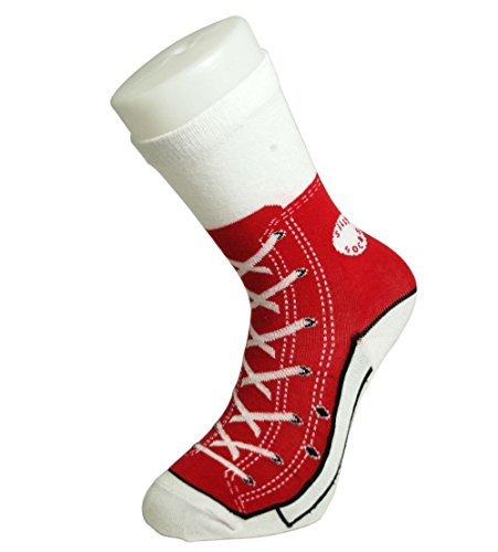 Mens Socks Silly Converse Novelty Sneakers Trainer Cotton Size 5 11 Joke Fun (5-11, Red Sneaker)