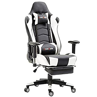 Storm Racer Ergonomische Fußstütze Computer Gaming Hohe Rückenlehne Drehstuhl Büro Stuhl mit Anpassung Kopfstütze und Lendenwirbelstütze Racing Stuh(weiß )