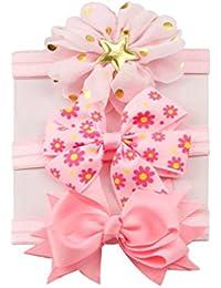 K-youth® 3 Pcs Diademas Bebé Arco del pelo de la venda elástico Bebé Cinta Para El Pelo Infantil Algodón Sólido Mariposa Niñas Banda Para La Cabeza Diadema (Rosa A)