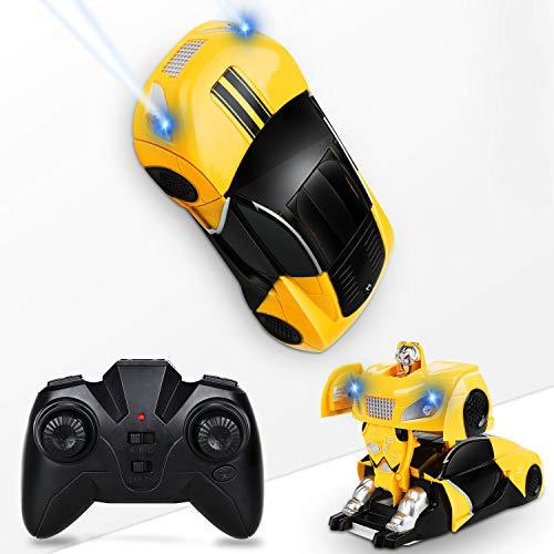 Flyfun Ferngesteuertes Auto, Transform Roboter Fernbedienung für Kinderwand, Wandklettern RC Auto 360 ° mit LED-Lichter, Geschenke für Jungen Mädchen Indoor Outdoor Spiele
