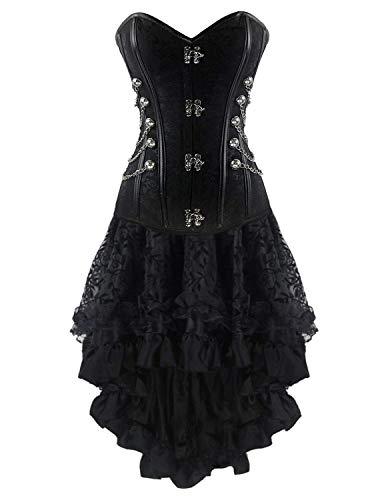 Damen Gothic Spitzen Steampunk Vintage Halloween Kleid Korsett Elegant Partykleid Festlich Bekleidung Elegante Vintage Mode Waist Training Body Shaper Bustier Corsage ( Color : Black4 , Size : S ) (Korsetts Für Halloween)