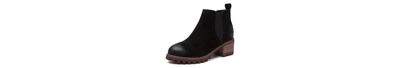 ZHZNVX HSXZ Zapatos de Mujer Cuero de Nubuck Cuero Confort Moda Primavera Otoño Botas Botas Zapatos Chunky Talón... -
