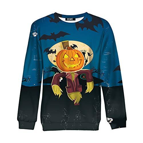 er Halloween Kürbis Langarm-Sweatshirt Lustige Langarm-Pullover Kleid Harajuku Stil Kürbis Vogelscheuche, Blau, Xl ()