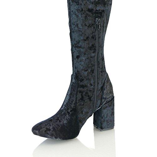 Blockabsatz Stretch Samt GLAM Stiefel BLACK Damen Schenkelhoch CRUSHED ESSEX Langschaft VELVET wPBqYB