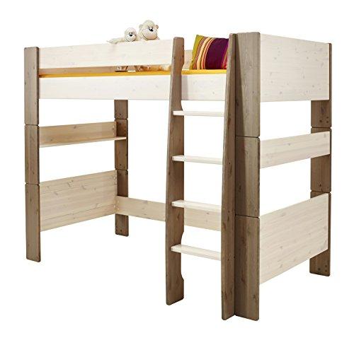 Steens For Kids Kinderbett/ Hochbett, inkl. Lattenrost, Liegefläche 90 x 200 cm, Kiefer massiv, Weiß/Grau (Hochbett Grau)