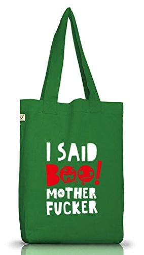 Shirtstreet24, Halloween - I Said Boo, Jutebeutel Stoff Tasche Earth Positive Moss Green