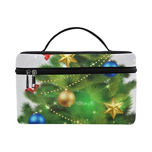 (Festival Weihnachtsbaum Jahr große Kapazitäts Größe Dame Cosmetic Bag Make uporganisator Zug Toilettenartikel Kasten Brotdose für Mädchen jugendlich Frauen Reisen mit klarem Reißverschluss)