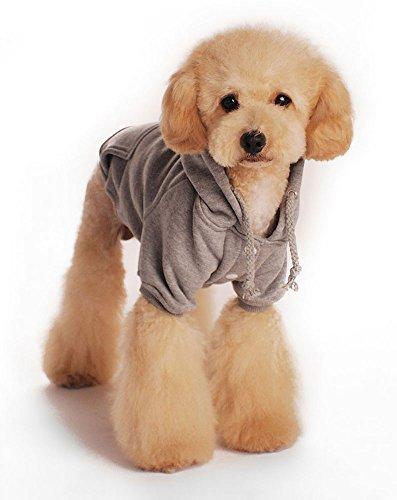 niceeshop(TM) Modern Weich Baumwoll Hund Hoodie Bekleidung(Grau,M) - 3
