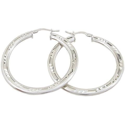 Rotonda Orecchini a cerchio in argento diamantato