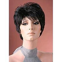 Peluca de calidad premium para mujer, color negro natural, estilo bob, peluca con