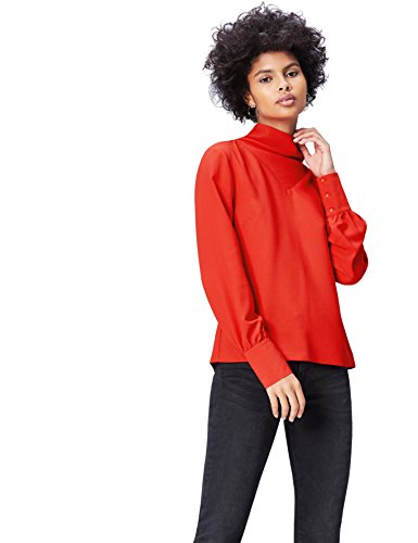FIND FIND Blusa de Cuello Alto para Mujer, Blusa Mujer, Rojo (Scarlet Red), 2XL