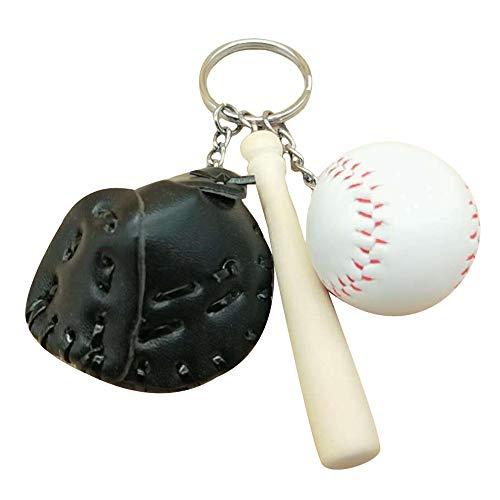 KDSANSO Baseball Schlüsselanhänger,Mini Baseballschläger Handschuh Set Anhänger Schlüsselanhänger Schlüsselanhänger Sport Fans Geschenk Tasche Hängende Verzierung,Schwarz 11cm