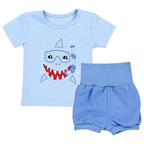 ommer Bekleidung T-Shirt Shorts Set, Farbe: Haifisch Blau, Größe: 92/98 ()