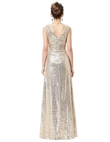 paillettenkleid lang ärmelloses kleid a linie brautkleid gold langes kleid Größe 34 KK0199-1 - 2