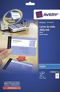 AVERY - C32015-25 - 200 Cartes de Visite Blanches à Bords Lisses - 85x54mm - Impression jet d'encre
