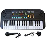 SUPER TOY 37 Keys Piano with Vocalism Microphone, Recording Function - Assorted