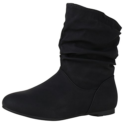 napoli-fashion Flache Damen Stiefeletten Wildleder-Optik Boots Schlupfstiefel Damen Stiefeletten Schwarz Noir 38 Jennika