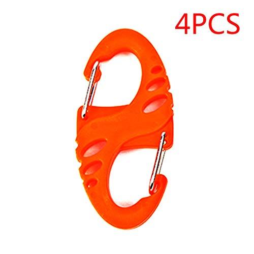 Provide The Best 4pcs Kunststoff Stahl S-Form-Rucksack Haken Karabiner EDC-Schlüsselanhänger Camping Bottle Haken