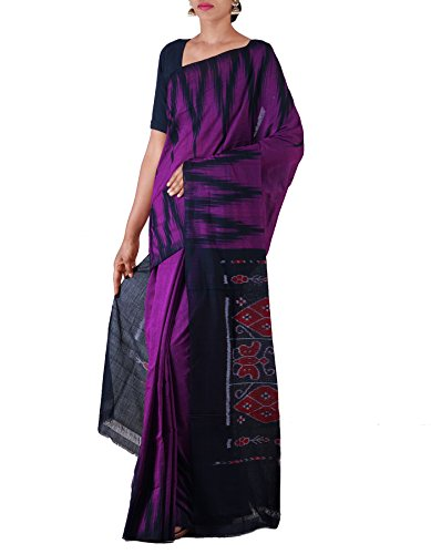 Unnati Silks Women Purple-Black Pure Handloom Sambalpuri Cotton Ikat Saree(UNM22036)