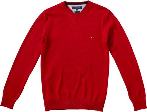 Tommy Hilfiger Herren Pullover ATLANTIC CREW 0867802695 Rot (613 Summer Red)