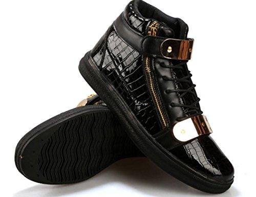 Männer beiläufige Art und Weise hohe Hilfe Metallplatten-Schuh-Brett-Schuhe Basketball-Sport-laufende Schuhe Black