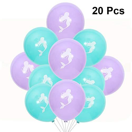 Toyvian 20pcs Sirena Globos Decoración de la Boda Globos Cumpleaños Látex Globos Suministros para Fiestas (Azul + púrpura)