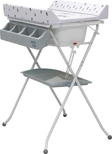 IB-Style - Table à langer pliable avec baignoire - Commode avec matelas à langer| Décor 'My little Farm grey'