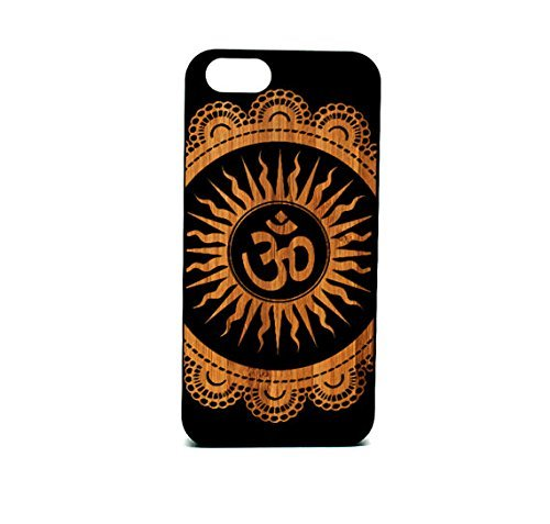 Krezy Fall Echtholz iPhone 6/6S Plus Fall, OM Symbol Design Laser Gravur Schwarz Holz iPhone 6/6S Plus Fall, Holz iPhone 6/6S Pluscase, schwarz Holz iPhone - Sprint Cell Iphone Plus Phones 6