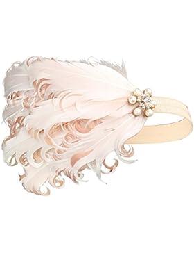 BABEYOND Años 20 Flapper Diadema de Plumas de Pavo Real Diadema Gatsby Vintage Cinta para el Pelo con Cristal...