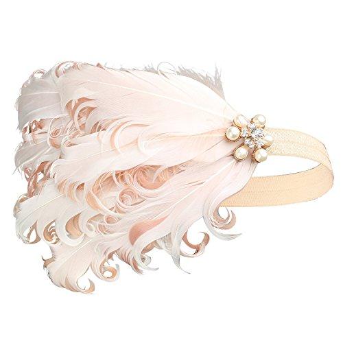 Art Jahre Deco 1920er Kostüm Flapper - BABEYOND 1920s Feder Stirnband 20er Jahre Stil Art Deco Flapper Haarband Great Gatsby Stirnband Damen Kostüm Accessoires (Pink mit elastischem Band)