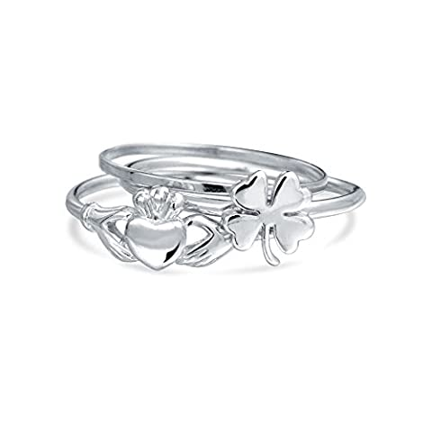 Bling Jewelry Argent 925 Bijoux Lucky trèfle irlandais Claddagh Ring Set Midi empilables