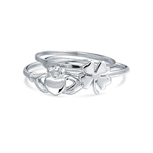 bling-jewelry-925-silber-lucky-clover-irish-claddagh-stapelbar-midi-ring-einstellen