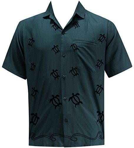LA LEELA Shirt Camicia Hawaiana Uomo XS - 5XL Manica Corta Hawaii Tasca-Frontale Stampa Hawaiano Casuale Regular Fit GrigioP060 Grigio