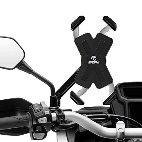 Grefay Motorrad Handyhalterung Edelstahl Automatisches Schrumpfen Smartphone Halterung für Motorrad Rückspiegel 360° Drehbare