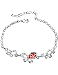 Silver Crystal Diamond Accent Butterfly Bracelet Made with Swarovski Crystal, with a Gift Box
