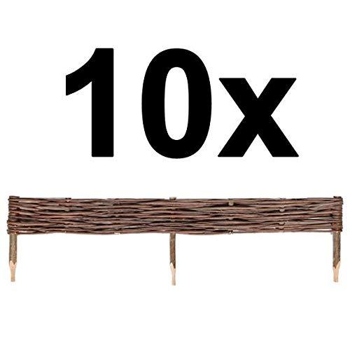 BOGATECO 10 x Weiden-Zaun Steckzaun | 100 cm Lang & 10 cm Hoch | Holz-Zaun | Perfekt für den Garten als Beet-Umrandung oder Weg-Abgrenzung