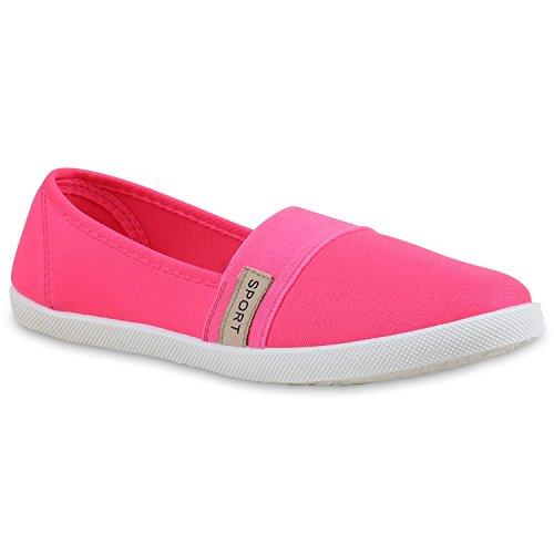 Sportliche Damen Ballerinas | Bequeme Slipper Flats | Stoffschuhe Freizeitschuhe | Slip-ons Helle Sohle | Prints Glitzer Pink Pink