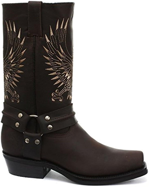 Schleifmaschinen Weißkopf Seeadler aus Braun Leder Cowboy Stiefel Slip auf quadratischen Fuß vorne Stiefel neue