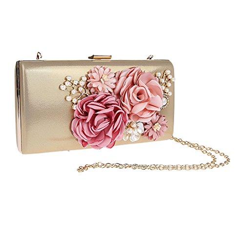 MagiDeal Handgemacht Damen Blumen Perlen Clutche Handtasche Abendtasche Partytasche für Party Hochzeit Theater Kino - Gold
