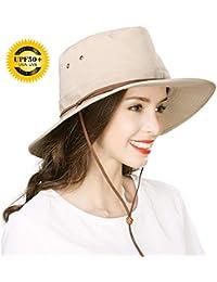 699ce69eb17 UPF 50 Cotton Safari Sun Hat Foldable Wide Brim Summer UV Protection Beach  Hat Chin Cord