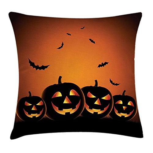 Halloween Throw Pillow Cushion Cover, Spooky Smiling Pumpkins with Flying Bat Silhouettes Dark Night, Decorative Square Accent Pillow Case, 18 X 18 Inches, Burnt Orange Mustard Black