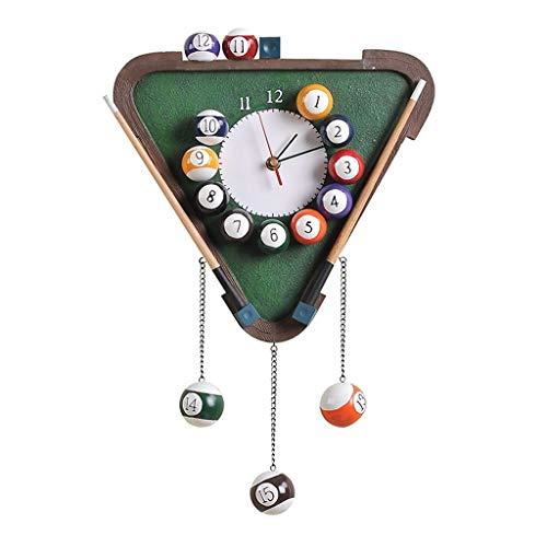 JJJJD Pool Rack Ball Clock Dreieck Snooker Billardtisch Wanduhr mit Harzrahmen -